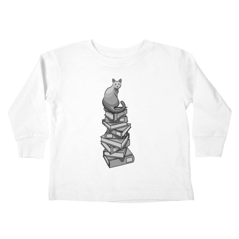 Puss & Books Kids Toddler Longsleeve T-Shirt by BrainMatter's Artist Shop