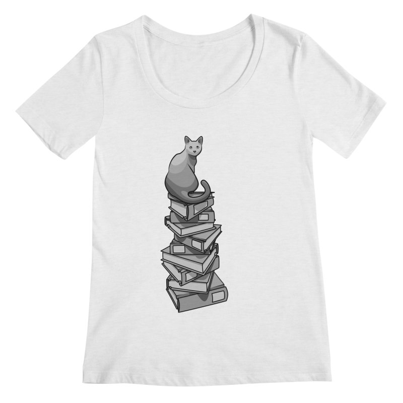 Puss & Books Women's Scoopneck by BrainMatter's Artist Shop