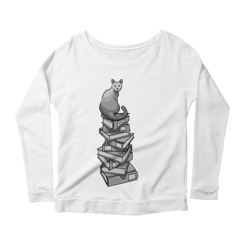 Puss & Books Women's Longsleeve Scoopneck  by BrainMatter's Artist Shop