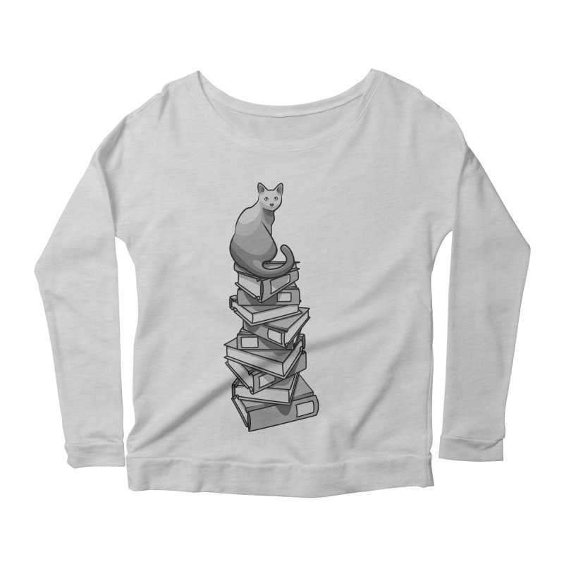 Puss & Books Women's Longsleeve Scoopneck  by BrainMatter's Artist Shop