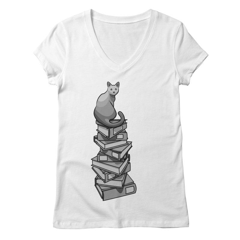 Puss & Books Women's V-Neck by BrainMatter's Artist Shop