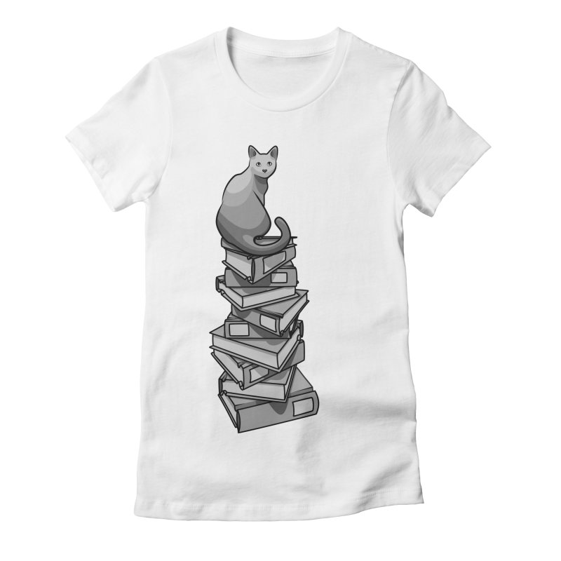 Puss & Books Women's Fitted T-Shirt by BrainMatter's Artist Shop