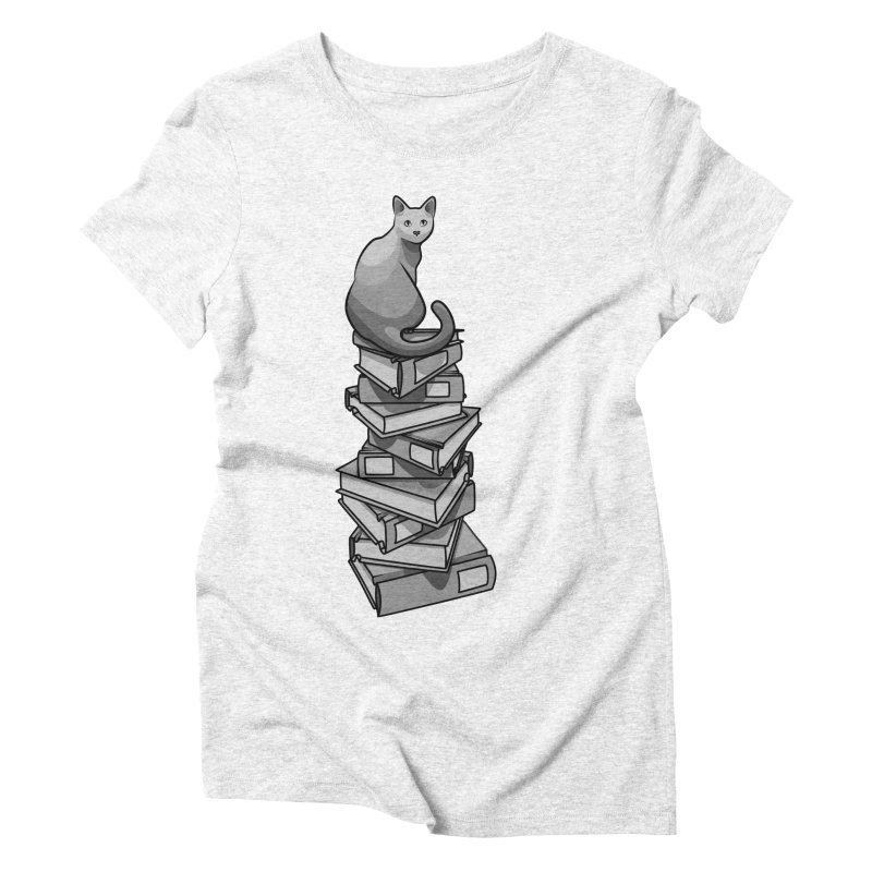 Puss & Books Women's Triblend T-shirt by BrainMatter's Artist Shop