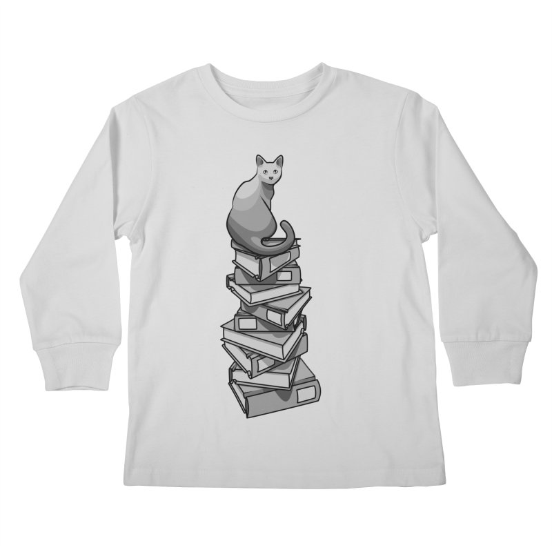 Puss & Books Kids Longsleeve T-Shirt by BrainMatter's Artist Shop