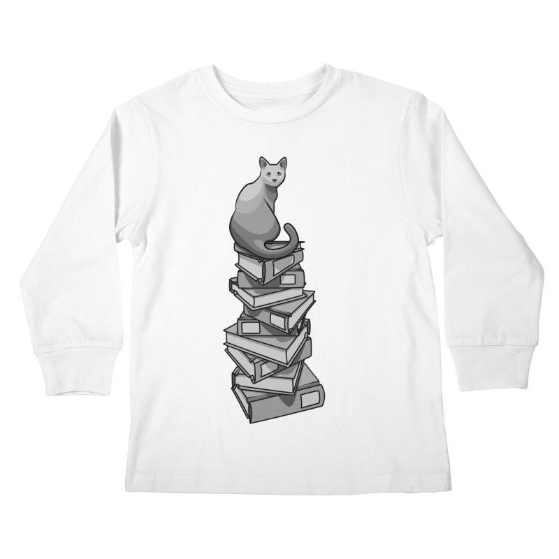 Puss & Books Kids Longsleeve T-Shirt by BrainMatter's Artist Shop