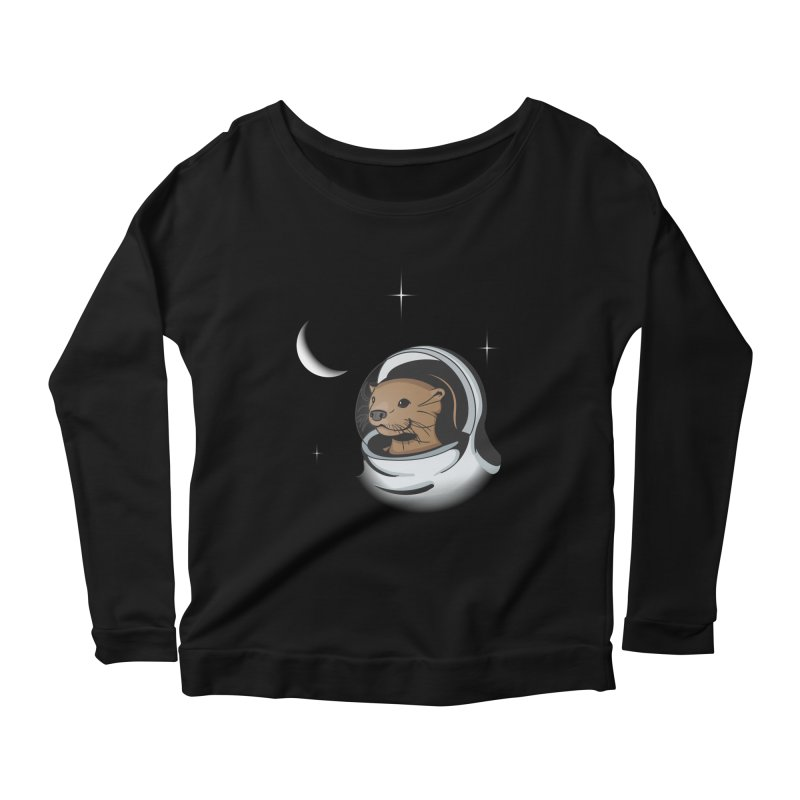 Otter Space Women's Longsleeve Scoopneck  by BrainMatter's Artist Shop