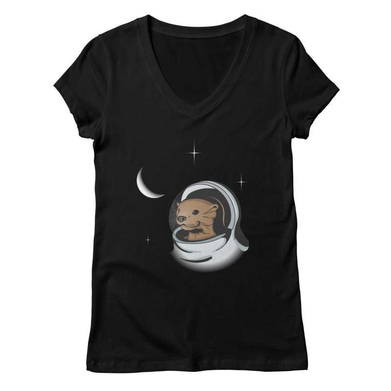 Otter Space Women's V-Neck by BrainMatter's Artist Shop