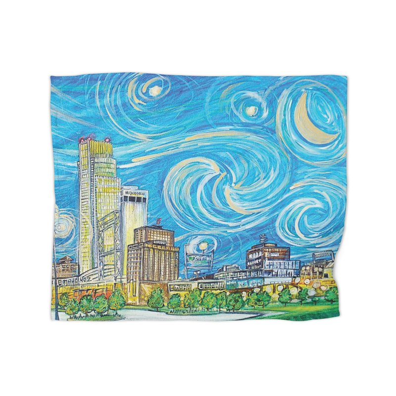 A Starry Night in Omaha Sky Home Blanket by Brick Alley Studio's Artist Shop