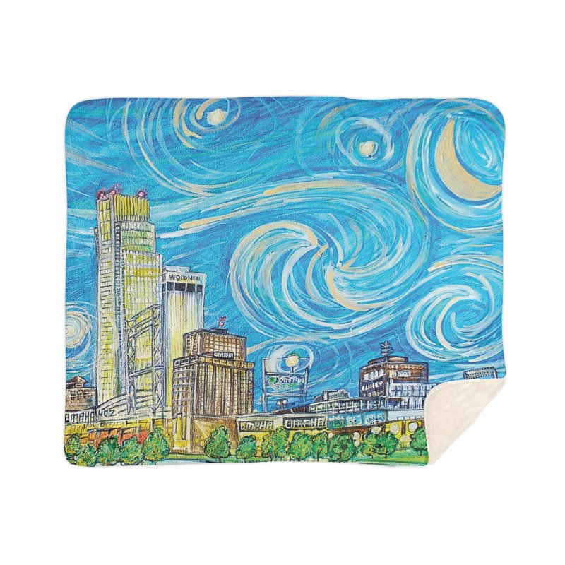 A Starry Night in Omaha Sky Home Sherpa Blanket Blanket by Brick Alley Studio's Artist Shop