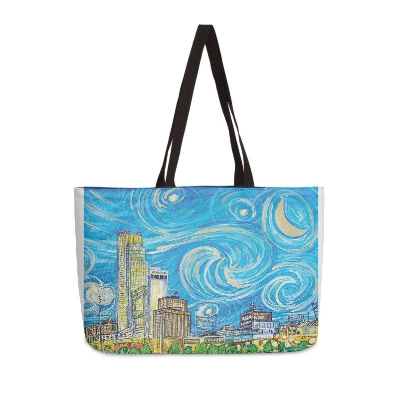 A Starry Night in Omaha Sky Accessories Weekender Bag Bag by Brick Alley Studio's Artist Shop