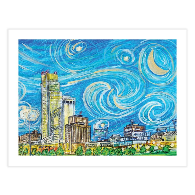 A Starry Night in Omaha Sky Home Bath Mat by Brick Alley Studio's Artist Shop