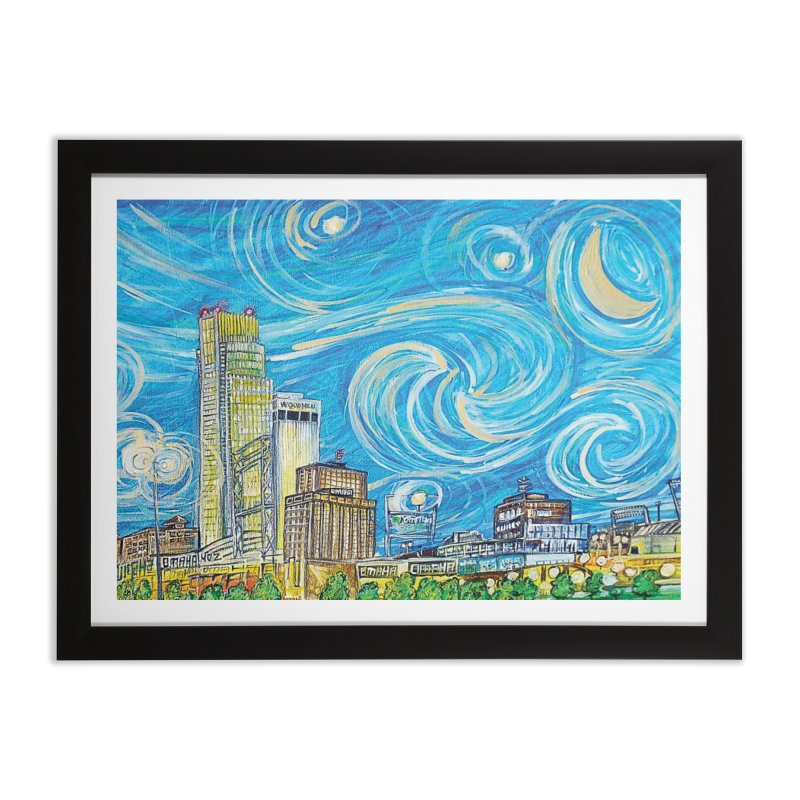 A Starry Night in Omaha Sky Home Framed Fine Art Print by Brick Alley Studio's Artist Shop