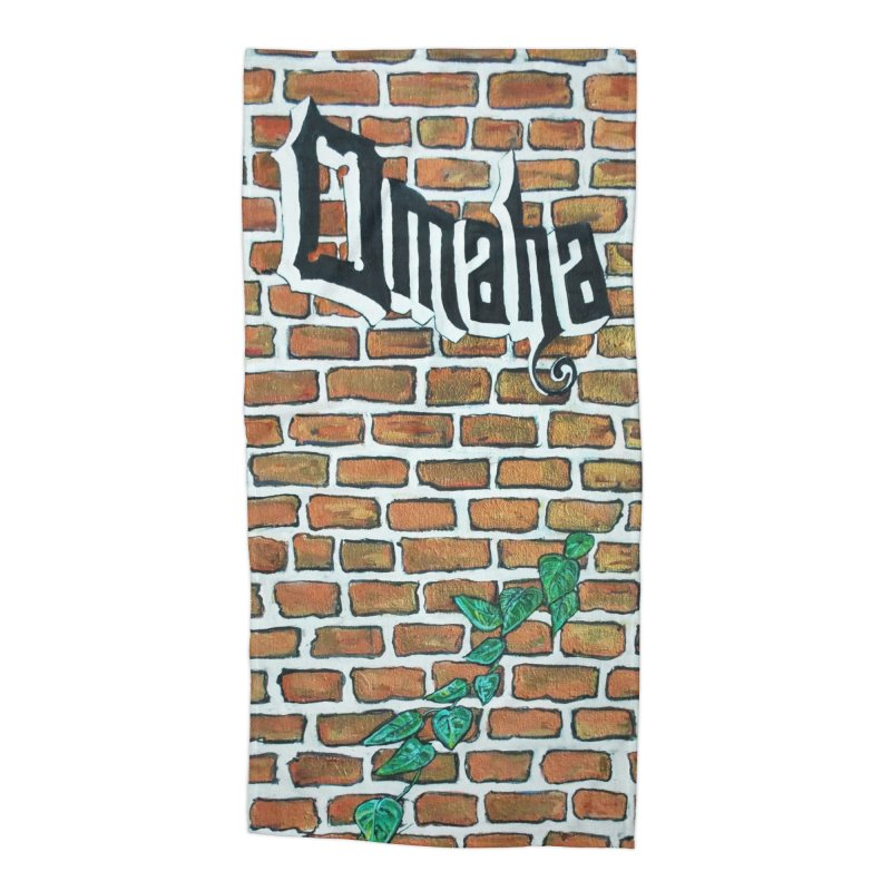 Brick Wall Omaha Oil Painting Accessories Beach Towel by Brick Alley Studio's Artist Shop