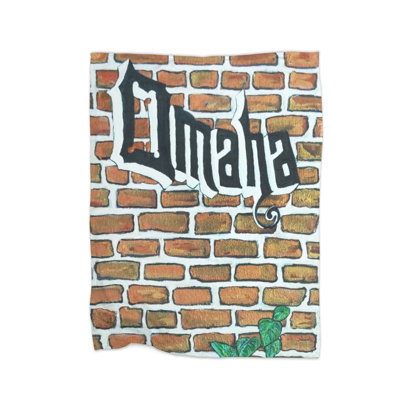 Brick Wall Omaha Oil Painting Home Blanket by Brick Alley Studio's Artist Shop