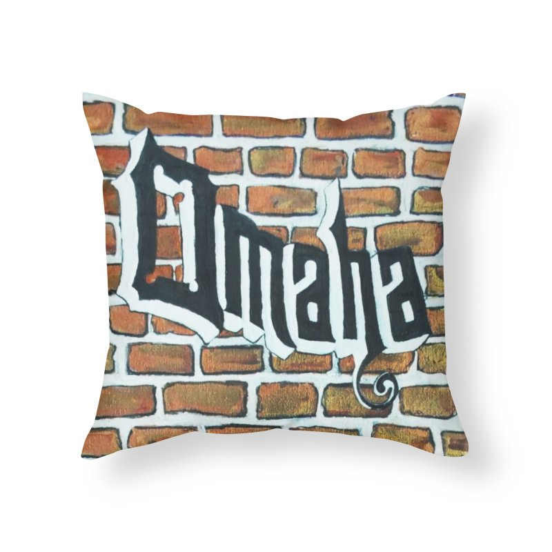 Brick Wall Omaha Oil Painting in Throw Pillow by Brick Alley Studio's Artist Shop