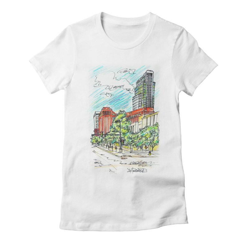 14th and Farnam Women's Fitted T-Shirt by Brick Alley Studio's Artist Shop