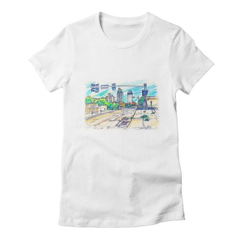 25th and Farnam Women's Fitted T-Shirt by Brick Alley Studio's Artist Shop