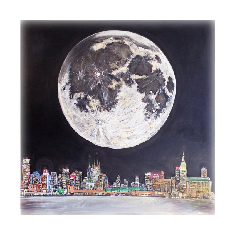 New York City Moon Home Framed Fine Art Print by Brick Alley Studio's Artist Shop
