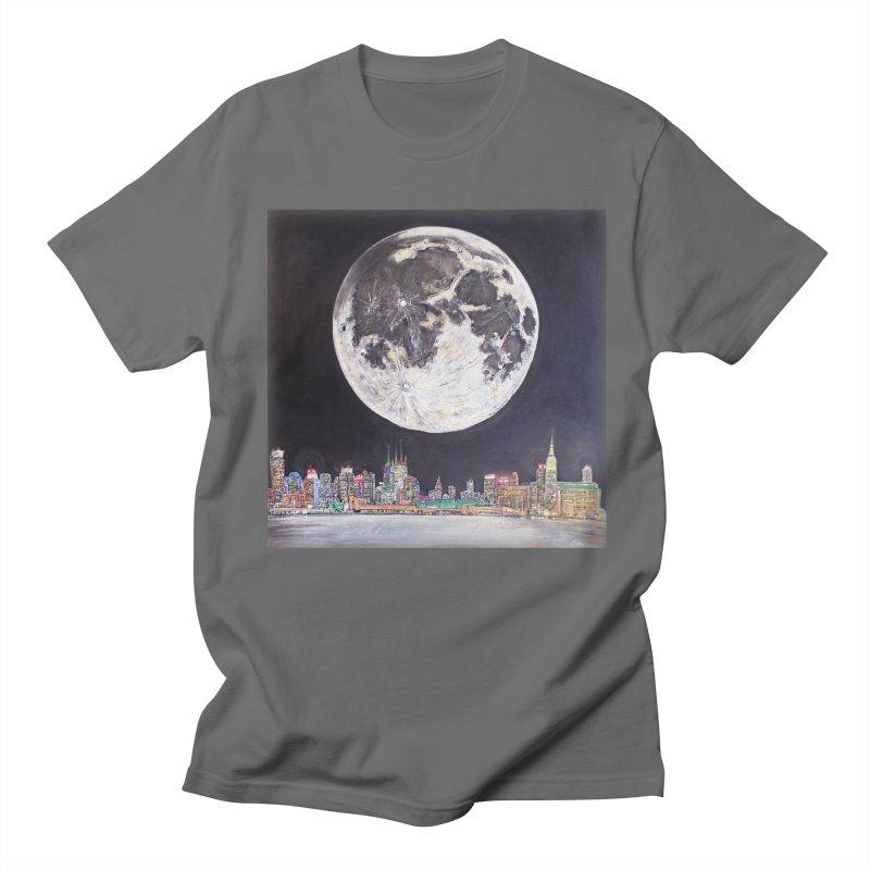 New York City Moon Men's T-shirt by Brick Alley Studio's Artist Shop