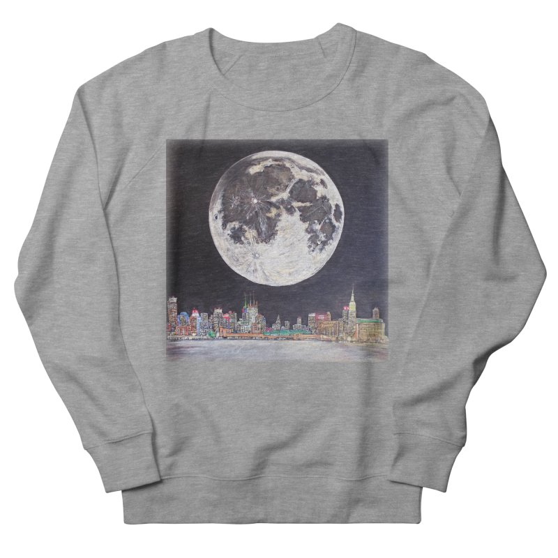 New York City Moon Men's Sweatshirt by Brick Alley Studio's Artist Shop