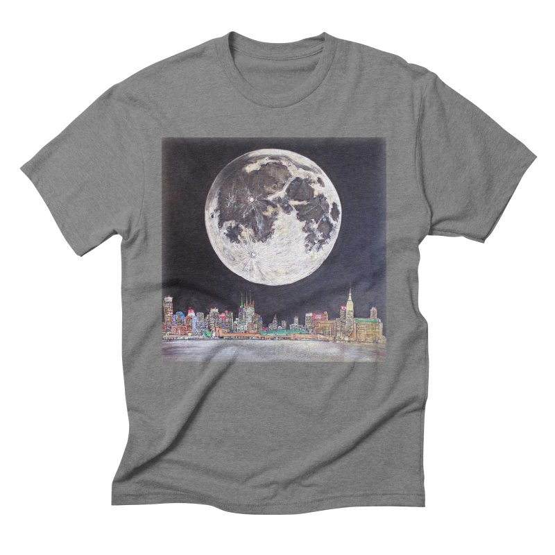New York City Moon Men's Triblend T-shirt by Brick Alley Studio's Artist Shop
