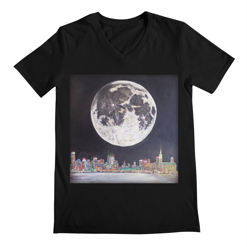 New York City Moon Men's V-Neck by Brick Alley Studio's Artist Shop