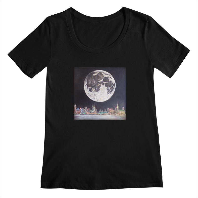 New York City Moon Women's Scoopneck by Brick Alley Studio's Artist Shop