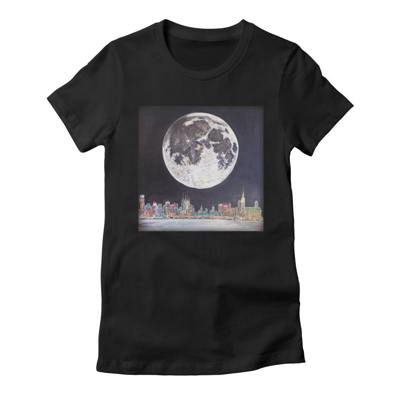 New York City Moon Women's Fitted T-Shirt by Brick Alley Studio's Artist Shop