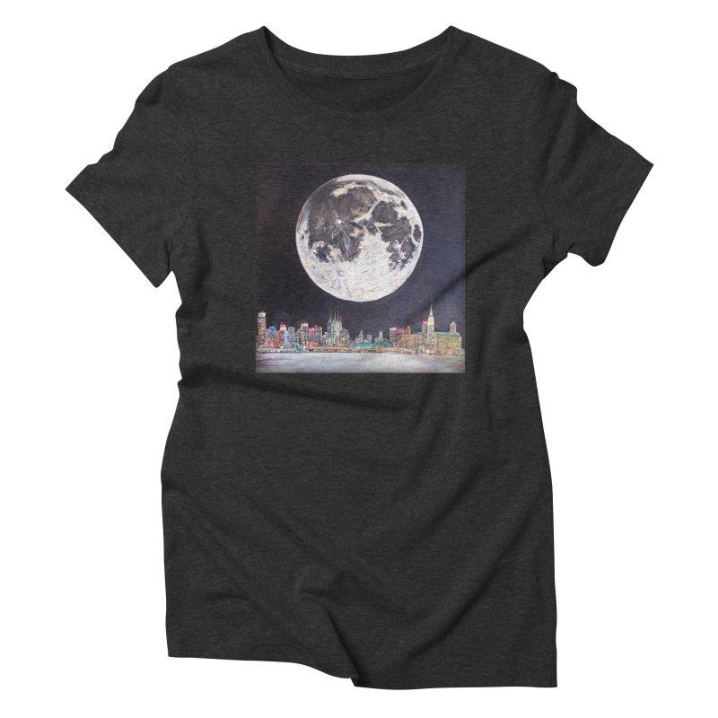 New York City Moon Women's Triblend T-shirt by Brick Alley Studio's Artist Shop