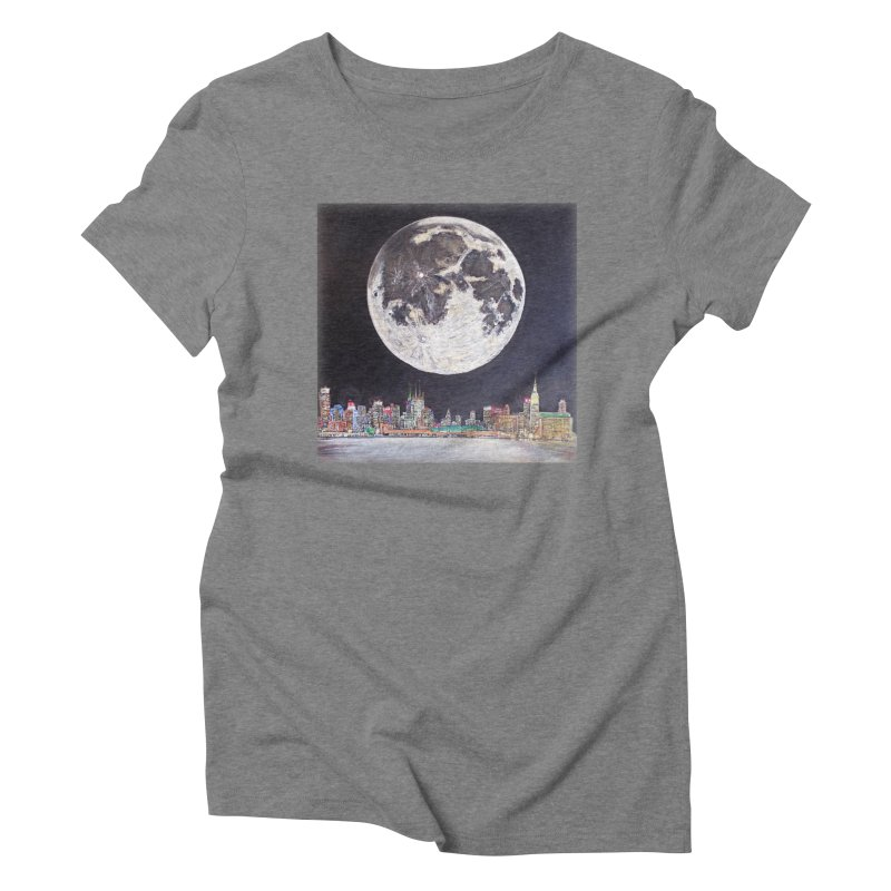 New York City Moon Women's Triblend T-shirt by Brick Alley Studio's Artist Shop