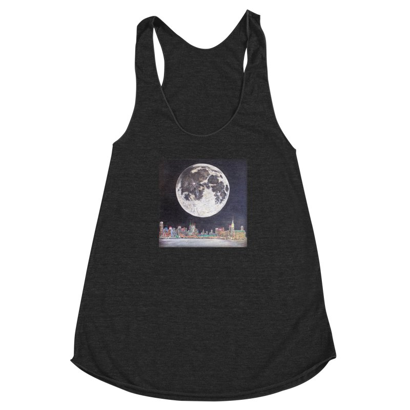 New York City Moon Women's Racerback Triblend Tank by Brick Alley Studio's Artist Shop