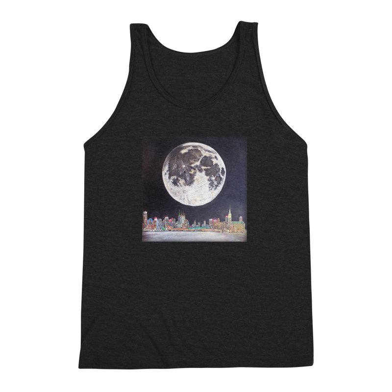 New York City Moon Men's Triblend Tank by Brick Alley Studio's Artist Shop