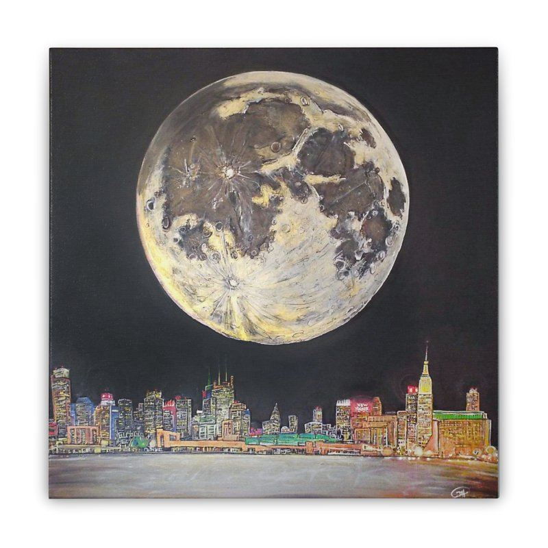New York City Moon Home Stretched Canvas by Brick Alley Studio's Artist Shop