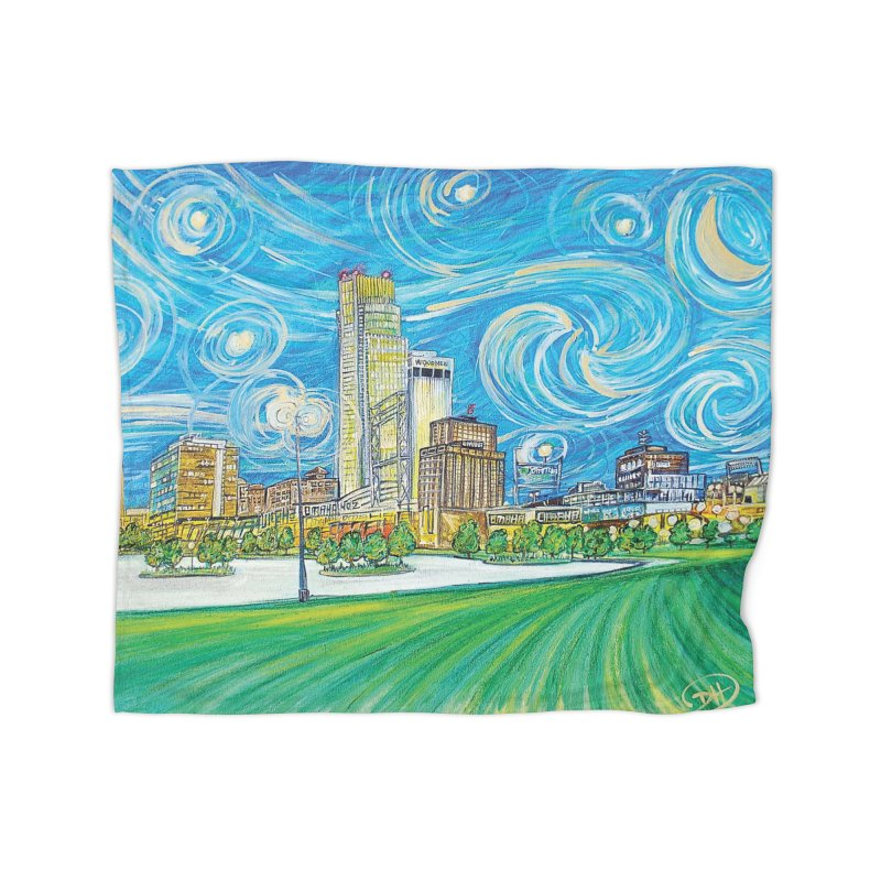 A Starry Night in Omaha Home Blanket by Brick Alley Studio's Artist Shop