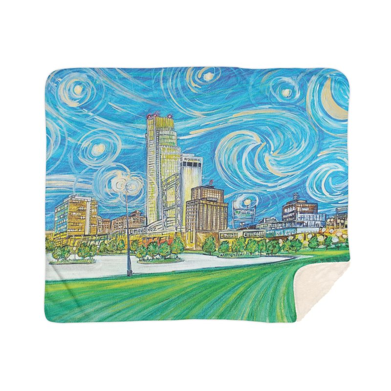 A Starry Night in Omaha Home Sherpa Blanket Blanket by Brick Alley Studio's Artist Shop