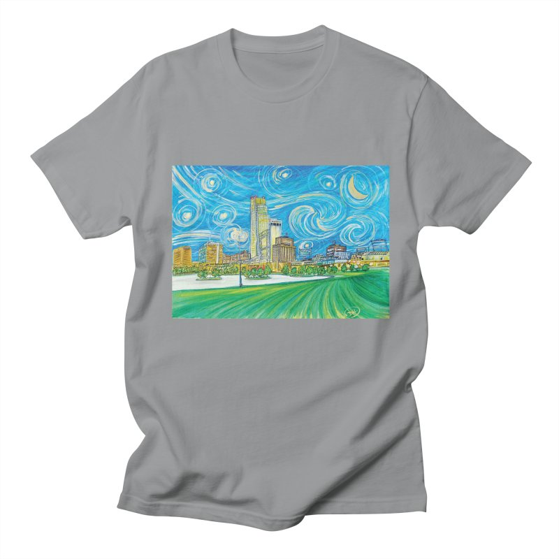 A Starry Night in Omaha Men's Regular T-Shirt by Brick Alley Studio's Artist Shop