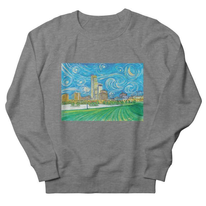 A Starry Night in Omaha Men's French Terry Sweatshirt by Brick Alley Studio's Artist Shop