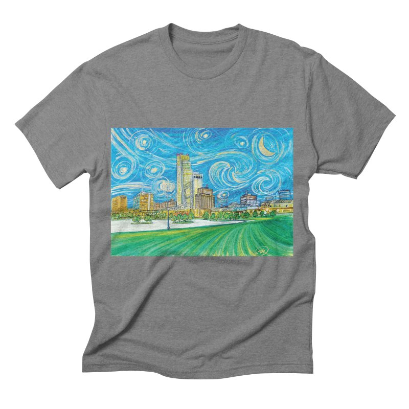 A Starry Night in Omaha Men's Triblend T-shirt by Brick Alley Studio's Artist Shop