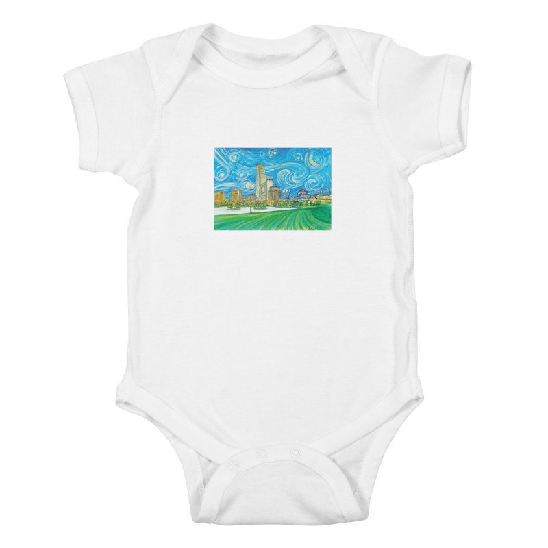 A Starry Night in Omaha Kids Baby Bodysuit by Brick Alley Studio's Artist Shop