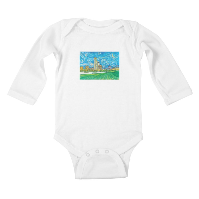 A Starry Night in Omaha Kids Baby Longsleeve Bodysuit by Brick Alley Studio's Artist Shop