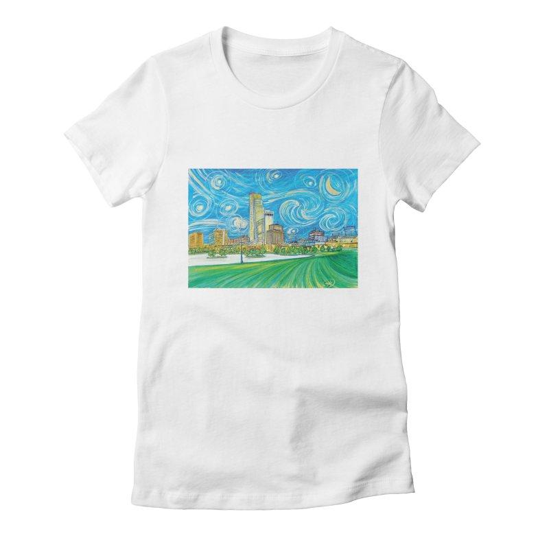 A Starry Night in Omaha Women's T-Shirt by Brick Alley Studio's Artist Shop