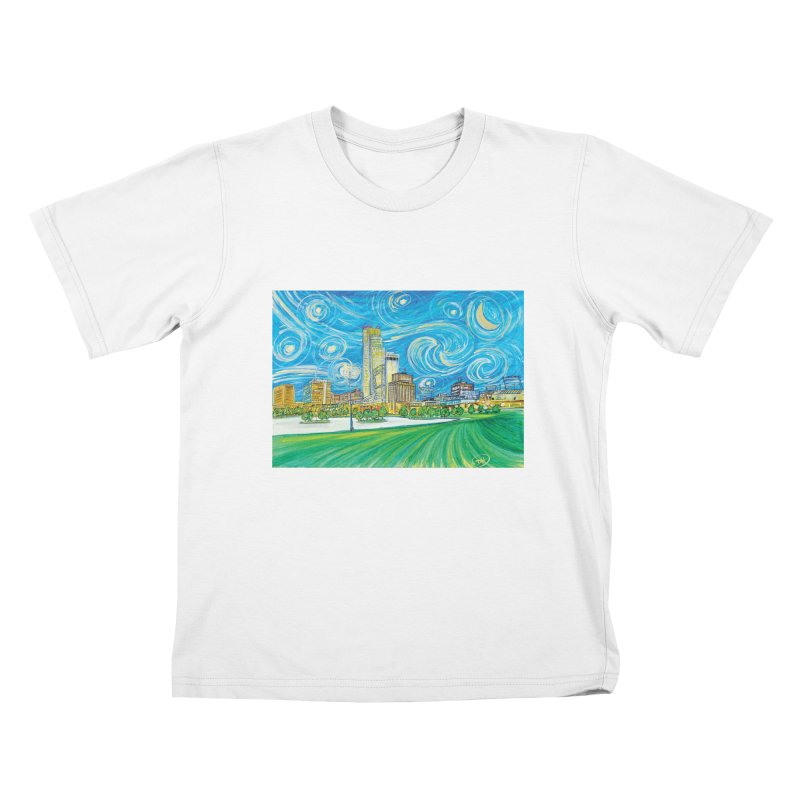 A Starry Night in Omaha Kids T-Shirt by Brick Alley Studio's Artist Shop