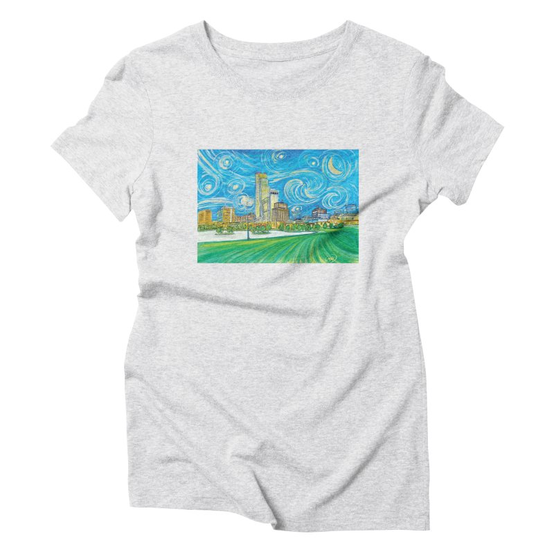 A Starry Night in Omaha Women's T-Shirt by Brick Alley Studio's Artist Shop