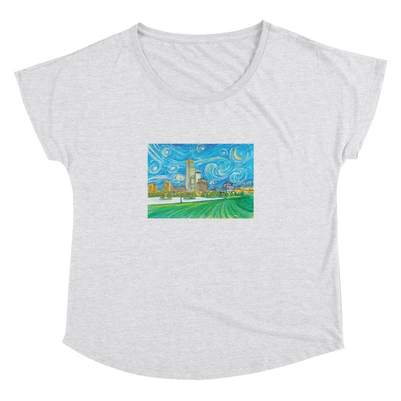 A Starry Night in Omaha Women's Dolman Scoop Neck by Brick Alley Studio's Artist Shop