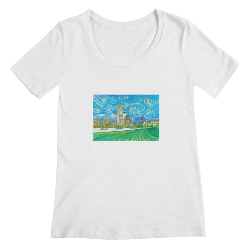 A Starry Night in Omaha Women's Regular Scoop Neck by Brick Alley Studio's Artist Shop