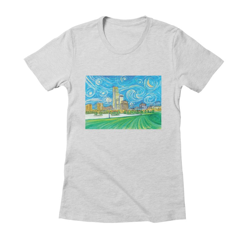A Starry Night in Omaha Women's Fitted T-Shirt by Brick Alley Studio's Artist Shop