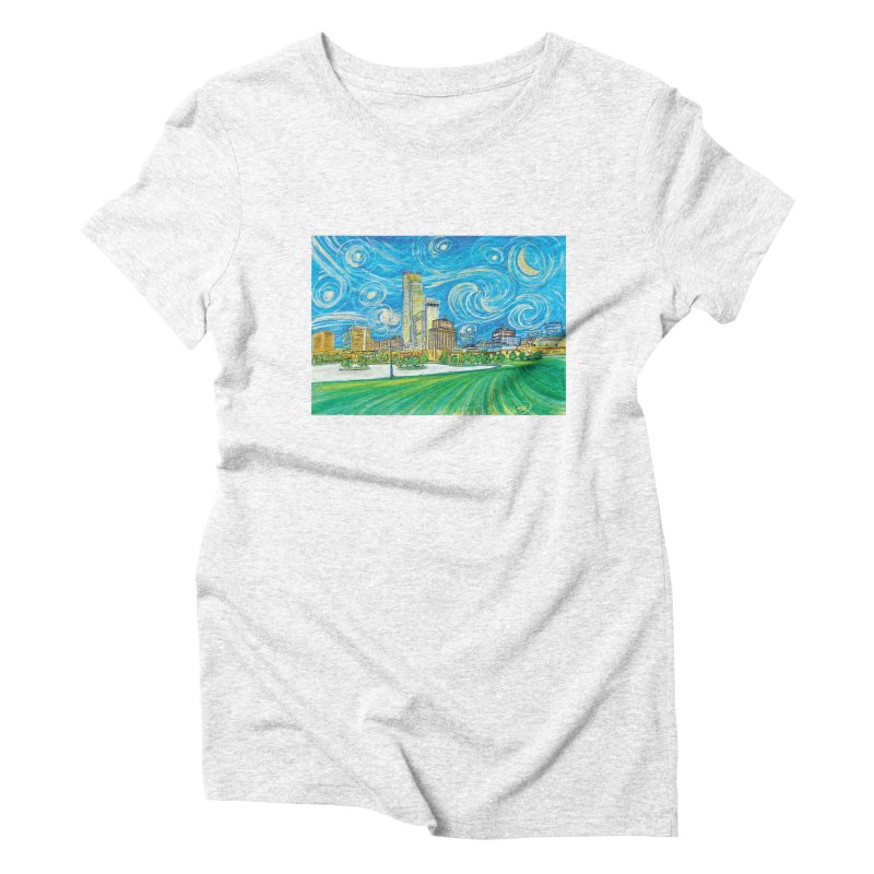 A Starry Night in Omaha Women's Triblend T-shirt by Brick Alley Studio's Artist Shop