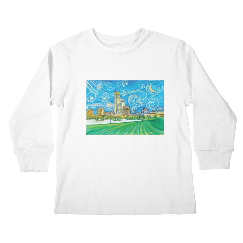 A Starry Night in Omaha Kids Longsleeve T-Shirt by Brick Alley Studio's Artist Shop