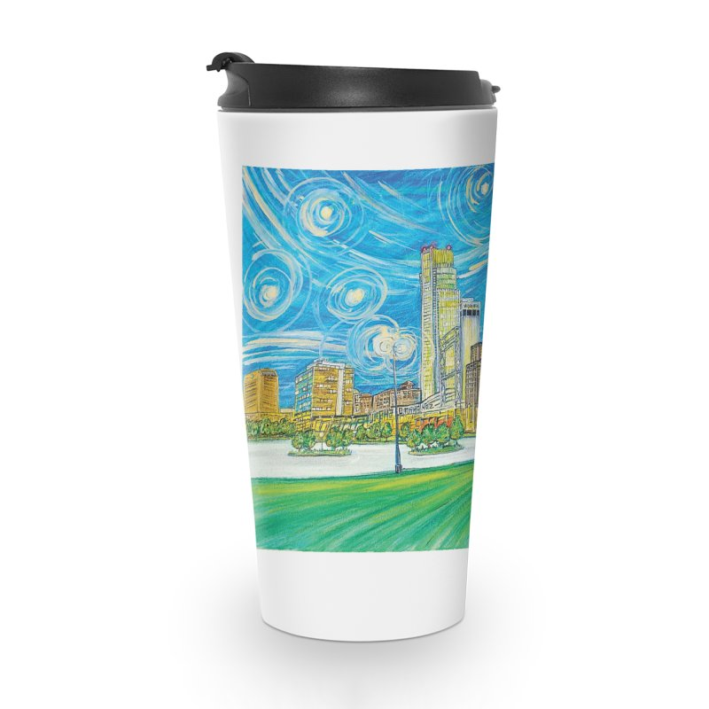 A Starry Night in Omaha Accessories Travel Mug by Brick Alley Studio's Artist Shop