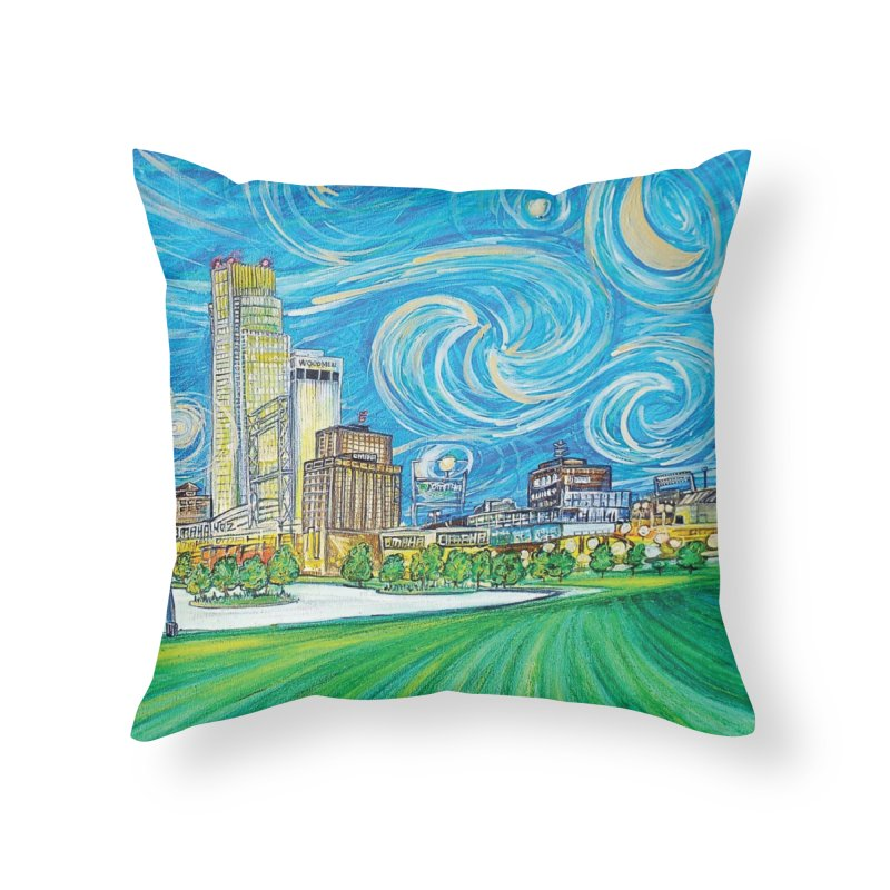 A Starry Night in Omaha Home Throw Pillow by Brick Alley Studio's Artist Shop